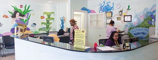 The front desk at KidzCare Pediatrics