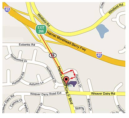 map to SBTDC Chapel Hill office