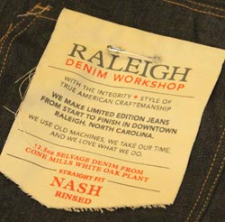 Raleigh Denim tag